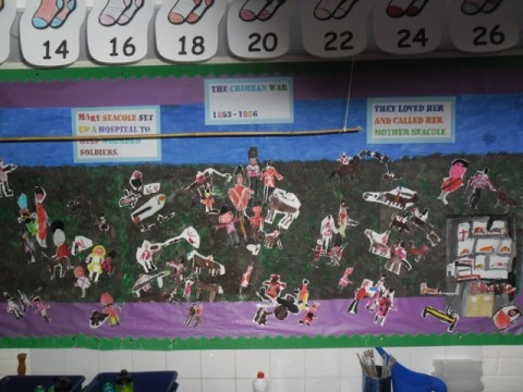 Battle Scene with Mary Seacole helping the soldiers Year 2