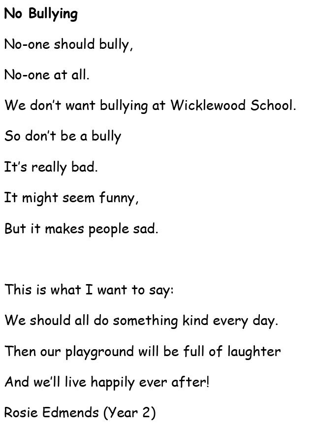 Make a Noise about Bullying Poems – Wicklewood Primary School and ...