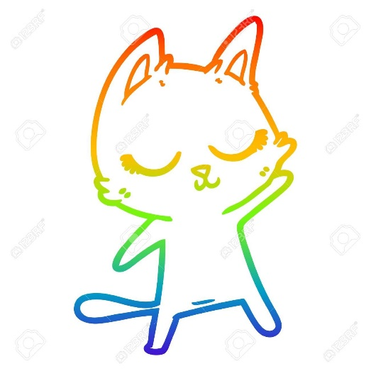 rainbow gradient line drawing of a calm cartoon cat waving ...